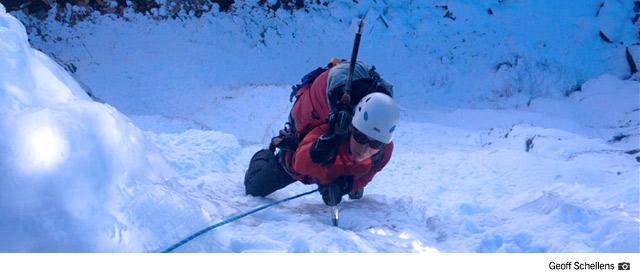 Ice Climbing on Dexter Falls (Geoff Schellens)