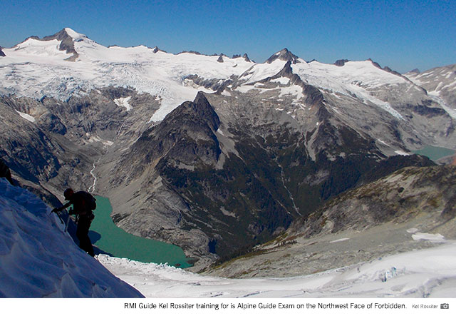 RMI Guide Kel Rossiter training for his Alpine Guide Exam on the Northwest Face of Forbidden.