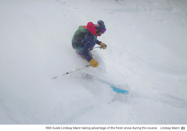 Lindsay skiing during the course (Lindsay Mann).