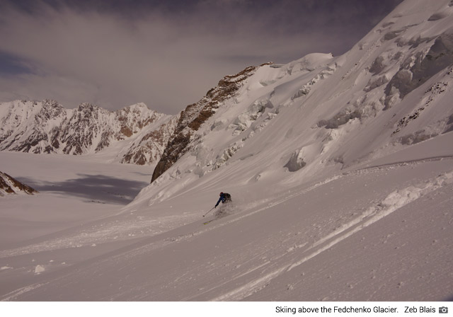 Skiing above the Fedchenko Glacier (Zeb Blais)