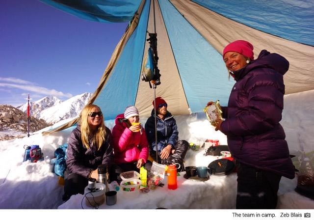 The team at camp on the Fedchenko Glacier (Zeb Blais)