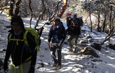 Mt. Everest Expedition: Hahn, Waterfall & Team Walk to Pheriche