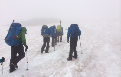 Mt. Rainier: Bond, Scott, & Team Retreat in Blizzard-like Conditions